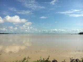 A roadside lake